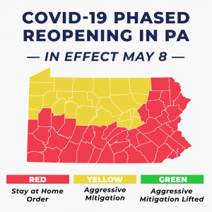 Map of counties re-opening in PA, from Gov. Wolf's Facebook